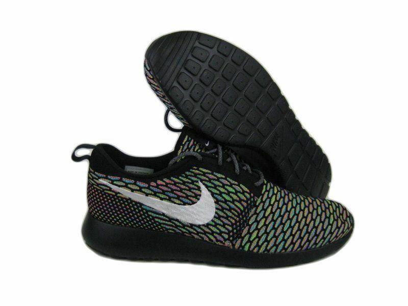 Nike Roshe Run Flyknit Multicolor ID Rosherun Sz 12.5  Black