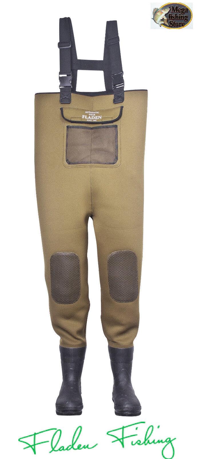 FLADEN Fishing AUTHENTIC GEAR Neoprene Impermeabili Pantaloni Pantaloni Pantaloni 4mm con suola feltro dimensioni ver 443336