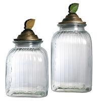 Pfaltzgraff Rustic Leaves Set Of 2 Glass Canister Set W/resin Lid