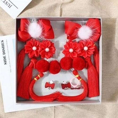 Hair clip Red Mane Ball Floral Hairpins Chinese New Year Japanese Girl Baby Flow