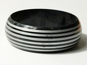 (1) 70mm vintage 1950s early plastic black striped bangle bracelet