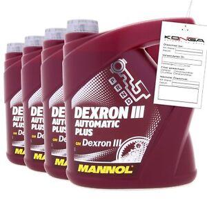 8 Liter Mannol DEXRON III Automatic plus Getriebeöl Automatikgetriebe