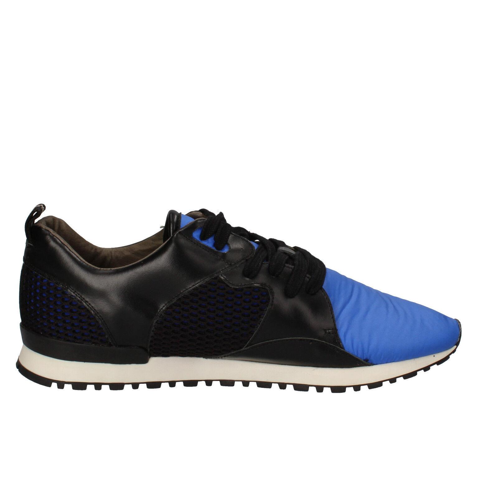 Uomo schuhe D.A.T.E. (date) 10 (EU Leder 44) Turnschuhe schwarz Blau Leder (EU AE534-44 e10041