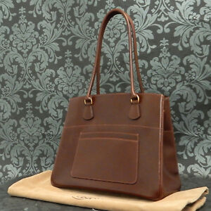 6143970a73fb Rise-on Vintage HERMES LA Brown Box Calf Leather Handbag Tote bag ...