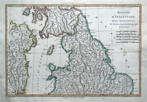 Map Of Northern Uk.Details About Northern England Uk Britain Rigobert Bonne Original Antique Map 1780