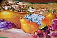 Multicolor Fruit Scene - Grapes, Orange, Cherry Blossoms Wallpaper Border W1131
