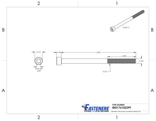 10-32 Socket Head Cap Screws Allen Hex Drive Stainless Steel Bolts All Lengths