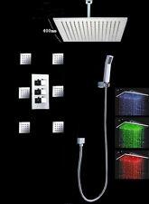 "Thermostatic Shower System LED 16""Rain Shower Head Set Body Massage Spray Jets"