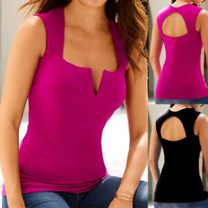 Women-Ladies-Casual-Sleeveless-V-Neck-Backless-Hollow-Tank-Tops-Blouse-Pullover