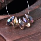 50pcs 12x6mm Teardrop Pendant Faceted Crystal Glass Loose Beads Lt Champagne AB