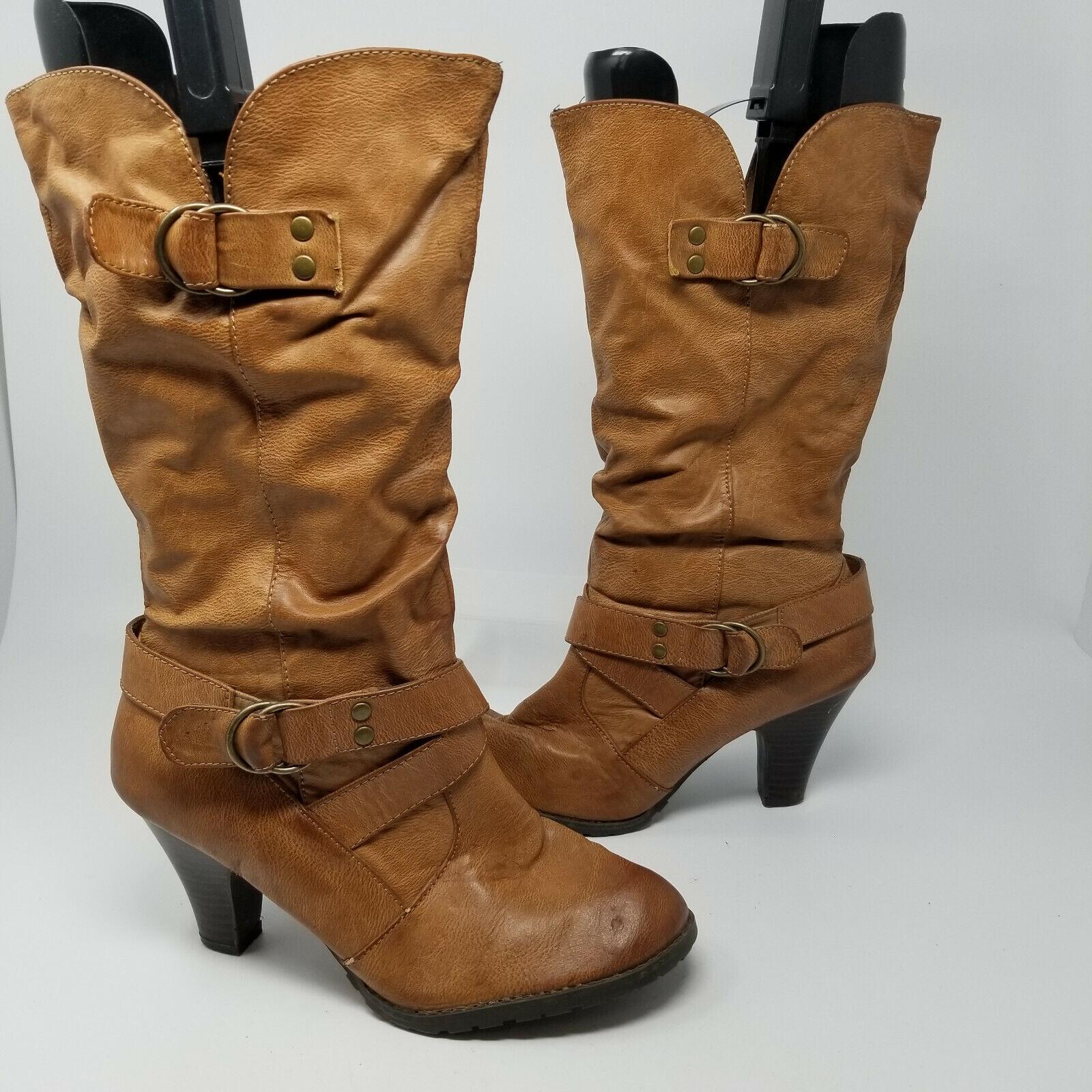 APT 9 marron double boucle en Cuir Synthétique Talon Bobine Bottes Chaussures Femmes Taille 10