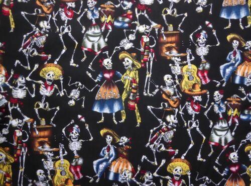 """Le Jour des Morts Squelette 100/% Coton Tissu Matériau Par Moitié Mètre W 55/"""""""