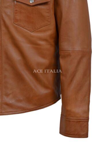 Men Leather Shirt Tan Adjustable Collar Casual Retro 100/% REAL NAPA JACKET M-114