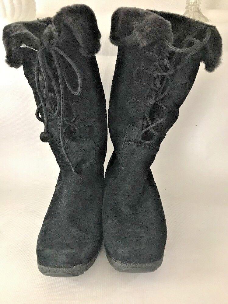 Haut femme Taille 8.5 Khombu Bottes en daim noir lacets en cuir bordure en fourrure synthétique