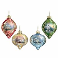 Thomas Kinkade light Up The Season Lighted Glass Ornaments Mini Led Lights