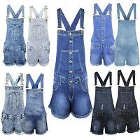Ladies Womens Denim Dungaree New Playsuit Jumpsuit Dungarees Shorts Dress Jeans