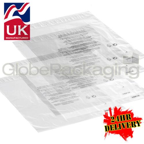 "2000 x 14x18/"" chiaro RE-imballaggio Peel /& Seal Mailing Poly Borse Labbro 350x450mm+40mm"