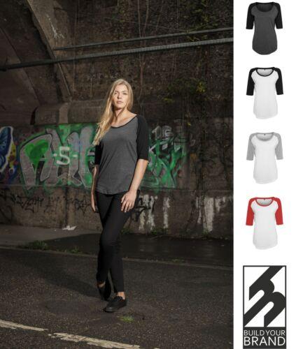 Damen T-Shirt Contrast 3//4 Arm Lady lang geschnitten XS S M L XL Longline