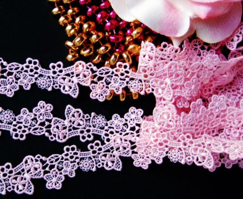 ribbon Amazing  pink flower embroidery lace trim price for 1 yard