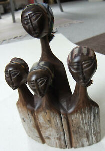 RARE,BRILLIANTLY HAND-CARVED AFRICAN HARDWOOD FEMALE FIGURES WEARING HEADSCARVES