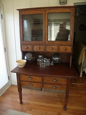 OAK 2 PIECE BAKERS CABINET CIRCA 1880 POSSUM BELLY DRAWERS/SPICE/CUTTING BOARD