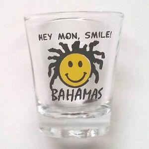 Bahamas-Logo-Hey-Mon-Smile-Shot-Glass-Collectible-Preowned
