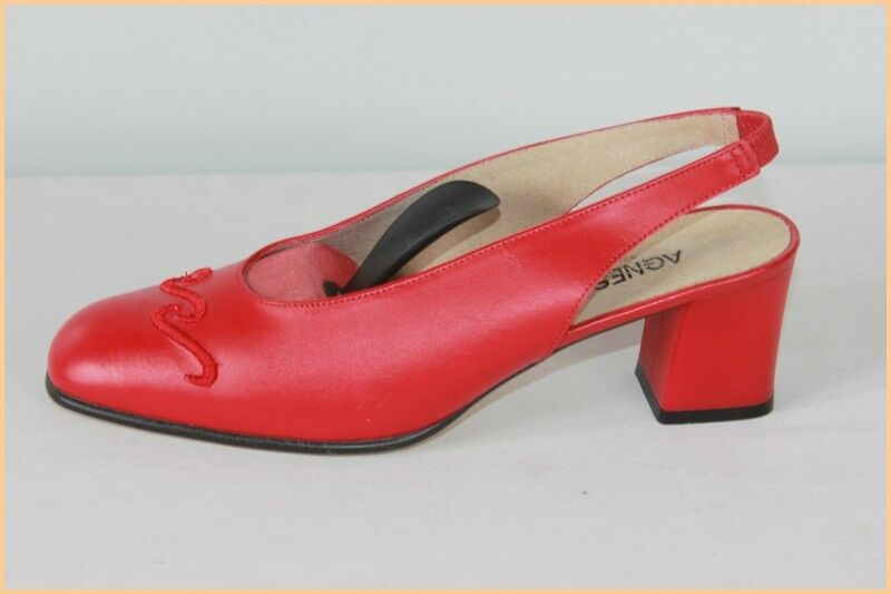 AGNES FLO Open Court Shoes Red VERY leather Vif T 40 VERY Red GOOD CONDITION b32470