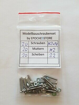 20 Stück Modellbauschrauben M2 x 16 mit Muttern und Scheiben