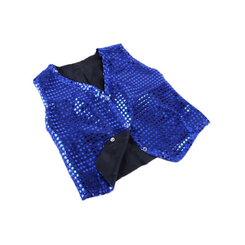 Boys Girls Sequined Vest Waistcoat Dance Party Show Costumes Modern Dancewear