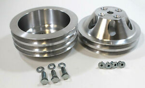 SBC-Small-Block-Chevy-2-and-3-Groove-Aluminum-Long-Water-Pump-Pulley-kit