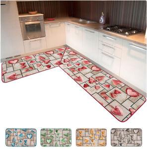 Teppich Küche Eckig Läufer pro Meter Auf Größe Anti-rutsch mit Rand Modern
