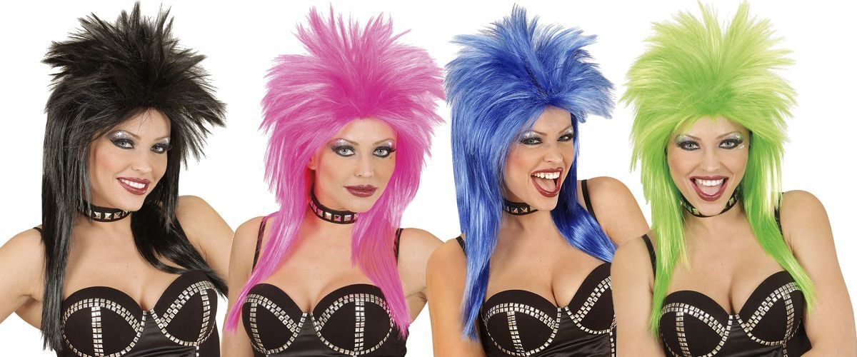 Ladies Punk Rocker Diva 80s Chick Tina Fancy Black White//black Urban Vibe Wig