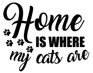 Window etc Car Outdoor Bumper Sticker HOME IS WHERE MY CATS ARE Vinyl Decal