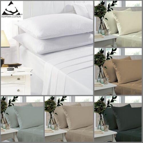 Fitted Sheets 100/% Egyptian Cotton Percale 200 Thread Count 25cm Deep S K D