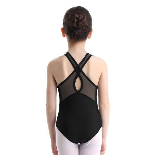 UK Girls Gymnastics Ballet Leotard Dance Dress Mesh Tank Top Bodysuit Dancewear