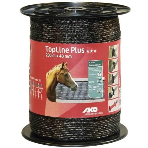 200m braun gratis Versand *AKO* TopLine Plus Weidezaunband Breitband 40mm