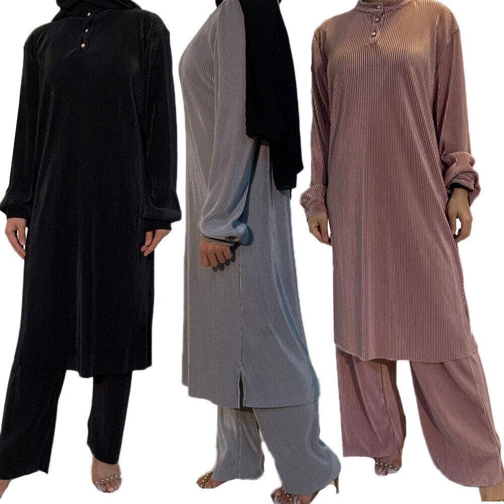 Muslim Women Abaya Pleated Blouse Pants Set Two Piece Dress Dubai Kaftan Jilbab