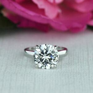 4Ctw-10MM-Round-Cut-White-Diamond-Solitaire-Engagement-Ring-14k-White-Gold-FN