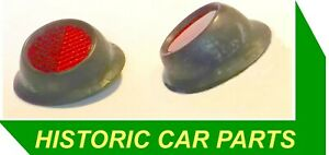 2-Rubber-Mounted-Rear-Red-Reflectors-1940-60s-RER2-1-5-034-38mm-35deg-Screw-Fixing