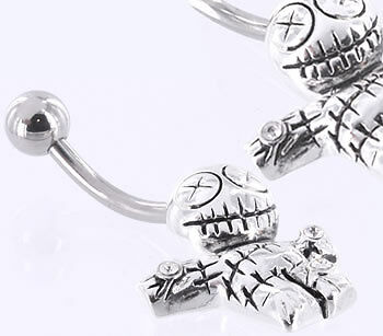 """14g 7//16"""" Voodoo Doll Steel Belly Button Ring"""