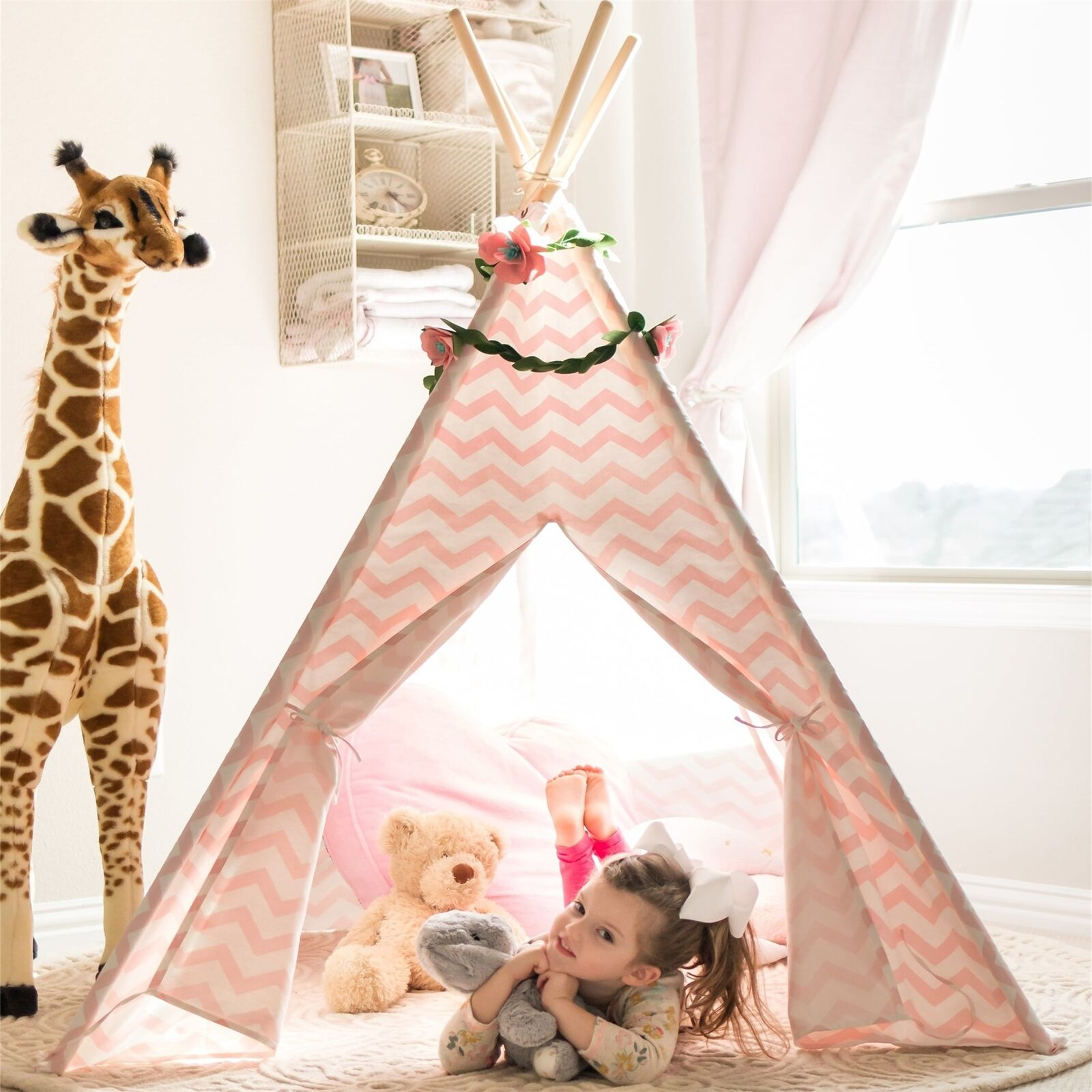 Tiny Land 6ft Rosa Chevron Cotton Canvas Tipi Zelt für Kinder Mädchen Spielzelt