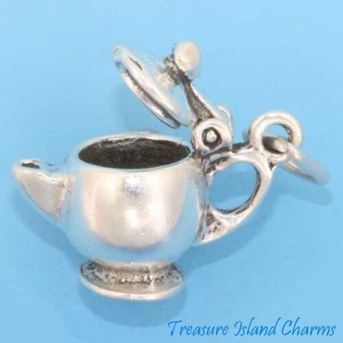 Théière Tea Pot Bouilloire Mobile 3D .925 Sterling Silver Charm ouvre made in USA
