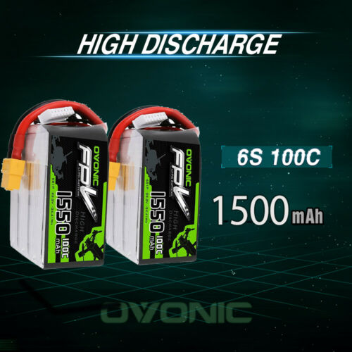 2X OVONIC 100C 22.2V 1550mAh 6S Lipo Battery for FPV Quad Helicopter RC Car Boat