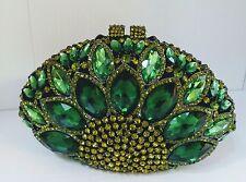 Green Color New Bridal/Evening Handmade Austria Crystal Purse Clutch Bag