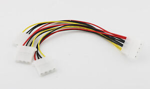 4 Pin Male to 2x 4Pin Molex Female IDE IP4 Power Y-Splitter Extension Cable 20cm