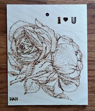 Rose, Flower, Garden, Original Wood Burn Drawing on Wood, Signed, Art Deco