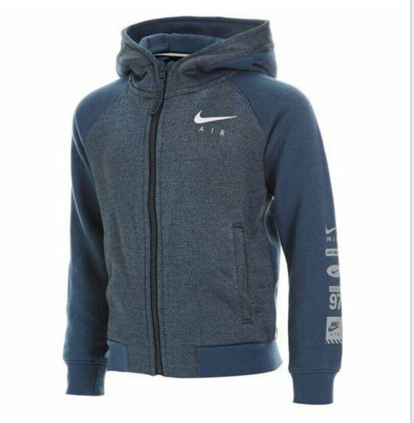 Autentisk Nike Air Max Zipped Hoodie Jacka SQ / Blå Storlek 5-6 år BNWT RRP £ 38