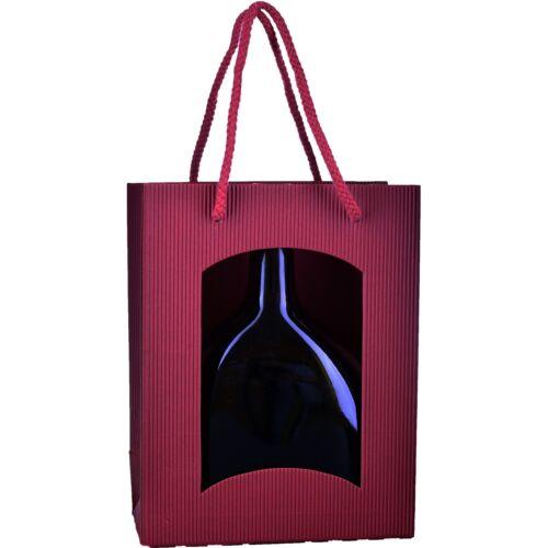 bordeaux mit Fenster 170 x 85 x 220 mm Geschenktüte für Bocksbeutel