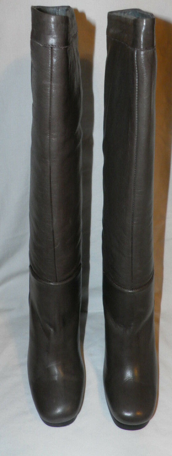 C'N'C COSTUME NATIONAL GREY LEATHER KNEE HIGH BOOTS Sz. 10 US/ 40 EUR