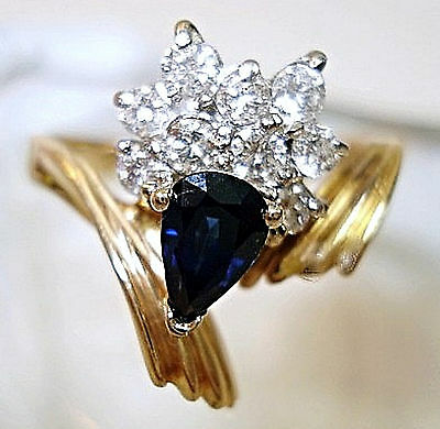 Vintage Fine Jewelry 14 kt  Sapphire & Diamond Ring Size 7 Precious Stones